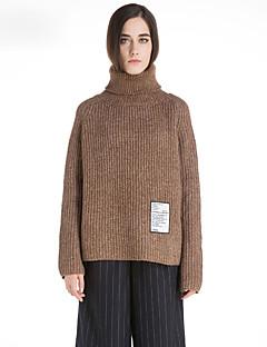 Damen Kurz Pullover-Lässig/Alltäglich Retro Solide Rollkragen Langarm Wolle Winter Mittel Mikro-elastisch