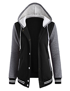 Women's Casual/Daily Active Hoodie Jacket Color Block Round Neck Micro-elastic Cotton Long Sleeve Fall Winter