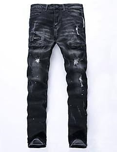 Herre Ret Plus Størrelser Jeans Bukser-Vintage / Street Casual/hverdag Ensfarvet Ripped Alm. taljede Lynlås Bomuld MikroelastiskAll