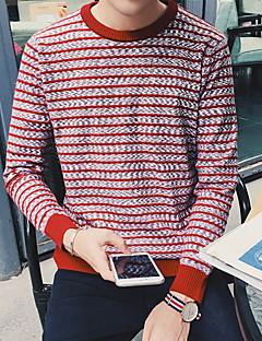 Herre Simpel Casual/hverdag Normal Cardigan Stribet,Blå / Rød / Hvid Rund hals Langærmet Polyester Efterår / Vinter Medium Mikroelastisk