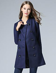 Dames Eenvoudig Winter Jas,Casual/Dagelijks Opstaand-Lange mouw Blauw Effen Polyester
