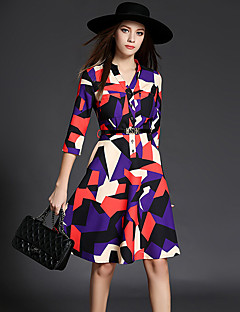 Women's Casual/Daily Cute / Street chic A Line Dress,Color Block V Neck Above Knee ¾ Sleeve Multi-color Cotton / Polyester Fall Mid Rise