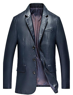 Men's Casual/Daily Simple Leather Jackets,Solid Shirt Collar Long Sleeve Spring / Fall Blue / Black PU Thick