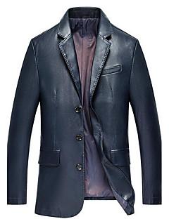 אחיד צווארון חולצה פשוטה יום יומי\קז'ואל ז'קטים מעור גברים,כחול / שחור שרוול ארוך אביב / סתיו עבה פוליאוריתן