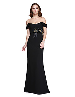 TS Couture Prom Formal Evening Dress - Sexy Celebrity Style Trumpet / Mermaid Off-the-shoulder Floor-length Velvet Chiffon withBeading