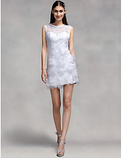 LAN TING BRIDE Sheath / Column Wedding Dress - Chic & Modern Reception Little White Dress Short / Mini Jewel Lace with Flower