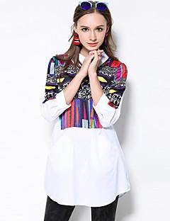 Dames Eenvoudig Herfst Overhemd,Casual/Dagelijks / Grote maten Print Overhemdkraag Lange mouw Wit / Zwart Katoen Medium