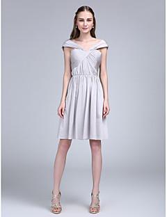 LAN TING BRIDE באורך  הברך מתחת לכתפיים שמלה לשושבינה - קצר ללא שרוולים ג'רסי