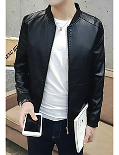 Men's Casual/Daily Simple Leather Jackets,Solid Standing Collar Long Sleeve Fall / Winter Blue / Red / Black / Brown PU Medium