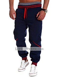 Men's Loose Sweatpants Pants,Sports Active Striped Low Rise Drawstring / Elasticity Polyester Micro-elastic Spring / Fall
