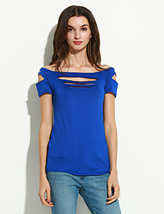 Women's Club Sexy / Street chic Summer T-shirt,Solid Boat Neck Short Sleeve Blue / Red / Black / Gray / Purple Polyester Thin