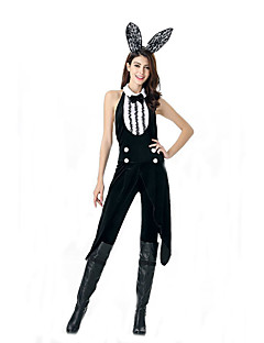 Cosplay Kostüme Hasenmädchen Film Cosplay Schwarz einfarbig Gymnastikanzug/Einteiler / Kopfbedeckung Halloween / Karneval Polyester