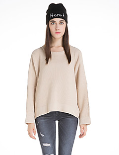 Dame Vintage Casual/hverdag Normal Pullover Ensfarvet,Beige / Brun / Grå / Lilla Rund hals Langærmet Uld Vinter Medium Mikroelastisk