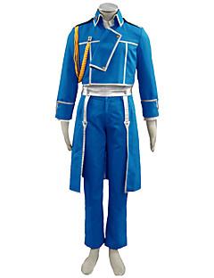 Inspirado por Fullmetal Alchemist Fantasias Anime Fantasias de Cosplay Ternos de Cosplay Cor Única AzulCasaco / Camisa / Calças / Luvas /
