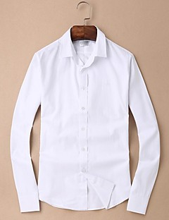Muži Jednobarevné Jdeme ven Vintage Košile-Jaro Bavlna Kulatý Dlouhý rukáv Bílá Tenké