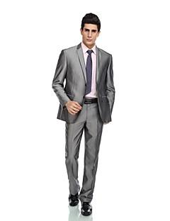 2017 smokingy na míru fit vrchol jediný oblek dvě tlačítka rayon (t / r) / vlna& polyester smíchat šedém