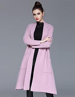 Casual/hétköznapi Egyszerű Őszi / Téli-Női Kabát,Egyszínű V-alakú Hosszú ujj Rózsaszín / Szürke Műselyem