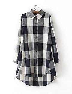 Women's Going out / Casual/Daily Simple / Cute Fall Shirt,Check Shirt Collar Long Sleeve Blue / Pink / Black Linen