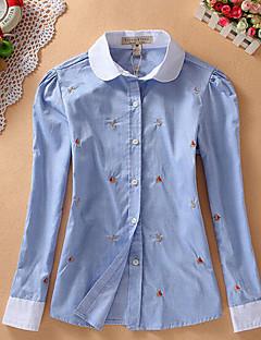 Dames Eenvoudig Overhemd,Casual/Dagelijks Print Overhemdkraag Lange mouw Blauw / Wit / Groen Katoen