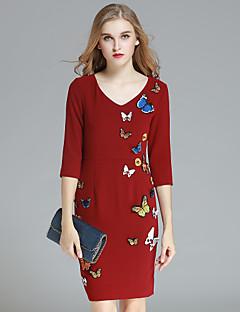 Dames Casual/Dagelijks Eenvoudig Schede Jurk Print-V-hals Boven de knie Driekwart mouw Blauw / Rood Polyester Herfst Hoge taille