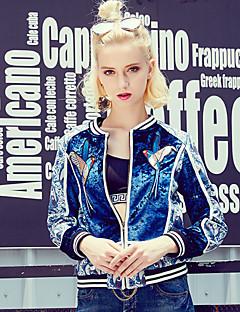 Damen Stickerei Retro Lässig/Alltäglich Jacke,Herbst / Winter Rundhalsausschnitt Langarm Blau Polyester