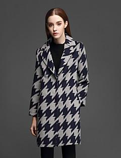 Casual/hétköznapi Egyszerű Téli-Női Kabát,Kockás Hasított rever Hosszú ujj Kék Egyéb Vastag