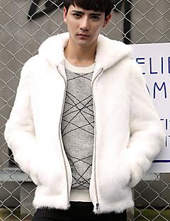 男性 カジュアル/普段着 冬 ソリッド ジャケット,シンプル フード付き ホワイト / ブラック フェイクファー 長袖 厚手