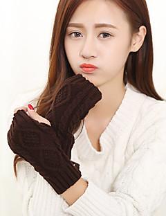 женский трикотаж длина запястье половина палец мило / партии / вскользь зима черный / белый / коричневый / серый перчатки