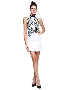 TS Couture® Prom  Cocktail Party Dress Sheath / Column High Neck Short / Mini Mikado with Embroidery