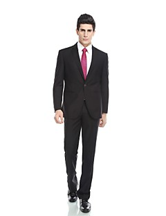 Tuxedos Tailored Fit Peak Single Breasted One-button Rayon(T/R) / Wool & Polyester Blended Solid 2 Pieces Dark Blue