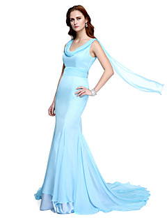TS Couture® Formal Evening Dress - Celebrity Style Trumpet / Mermaid Cowl Sweep / Brush Train Chiffon with Draping / Side Draping