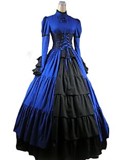 Uma-Peça/Vestidos Gótica Vitoriano Cosplay Vestidos Lolita Vermelho / Púrpura / Preto / Azul Cor Única Manga Comprida Comprimento Longo
