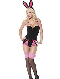 Cosplay Kostuums Bunnymeisjes Film Cosplay Roze Effen Gympak/Onesie / Hoofddeksels Halloween / Carnaval Vrouwelijk Polyester