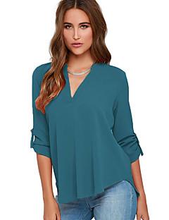 Damen Solide Sexy / Einfach Ausgehen / Lässig/Alltäglich Bluse,V-Ausschnitt Herbst Langarm Grün Polyester / Elasthan Dünn