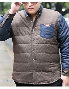 אחיד צווארון חולצה פשוטה יום יומי\קז'ואל / מידות גדולות חולצה גברים,אביב / סתיו שרוול ארוך כחול / חום בינוני (מדיום) כותנה