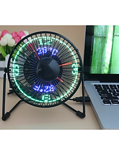 Novelty Clock Fan with Floating LED Timeand  Temperature  Display 130cm 14.5*16.8*11.5 cm Black