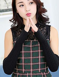 kvinder polyester halv finger håndled længde, solid afslappet vinter