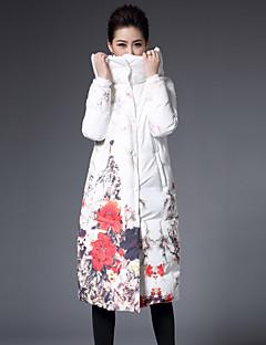 Dame Dun Langermet Frakk,Sofistikert Fritid/hverdag / Plusstørrelser Blomstret-Polyester Hvitt andedun Med hette Hvit