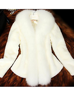 Feminino Casaco de Pêlo Informal / Casual Simples Outono / Inverno,Sólido Branco Pêlo Sintético Gola Redonda-Manga Longa Grossa