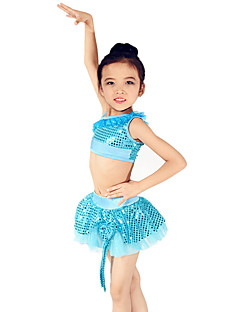 Latin Dance Outfits Children's Performance Spandex / Polyester / Organza / Sequined Bow(s) / Paillettes / Sequins / Tiers 2 Pieces