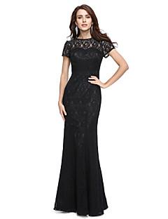 2017 ts couture® prom formelle aftenkjole - elegant trompet / havfrue juvel gulvlang blonder med blonder