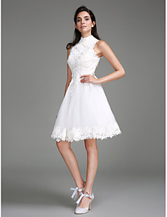 LAN TING BRIDE A-line Wedding Dress Little White Dress Knee-length High Neck Lace with Lace