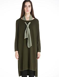Dame Vintage Casual/hverdag Lang Pullover Ensfarvet,Sort / Grøn Rund hals Langærmet Uld Vinter Medium Mikroelastisk