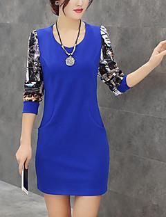 Dame Plus Size / Ieșire / Casul/Zilnic Șic Stradă Teacă Rochie-Imprimeu Manșon Lung Rotund Mini Albastru / Roșu / Negru / Verde / Galben