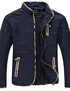 Herren Einfarbig Einfach Ausgehen Jacke,Herbst Ständer Langarm Blau / Schwarz Mittel Baumwolle