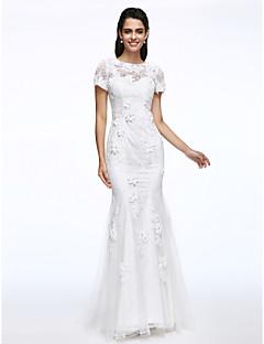 LAN TING BRIDE 트럼펫 / 머메이드 웨딩 드레스 아름다운 뒤태 스윕 / 브러쉬 트레인 쥬얼리 레이스 와 꽃장식