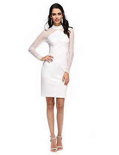 TS Couture® מסיבת קוקטייל שמלה - שקוף מעטפת \ עמוד צווארון גבוה באורך  הברך טול / ג'רסי עם קפלים