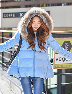 Damen Daunen Mantel,Standard Niedlich / Street Schick / Anspruchsvoll Ausgehen / Lässig/Alltäglich / Urlaub Solide-Polyester /