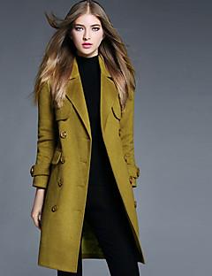 Dames Eenvoudig Herfst / Winter Jas,Casual/DagelijksLange mouw Groen Effen Polyester