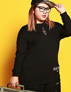 Dame Afslappet/Hverdag Simpel Plusstørrelser Sweatshirt Bogstaver Rund hals Bomuld Polyester Spandex Mikroelastisk LangærmetEfterår
